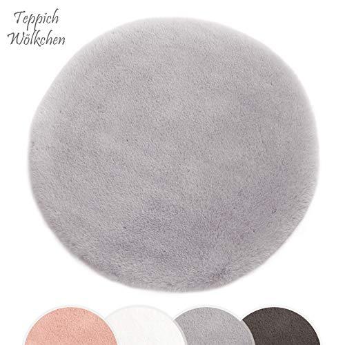 Auf Einem Acryl-teppich (Kurzfell-Teppich Kunstfell Hasenfell Imitat | Wohnzimmer Schlafzimmer Kinderzimmer | Als Faux Bett-Vorleger oder Matte für Stuhl Hocker Sofa (Grau, 120 cm - Rund))