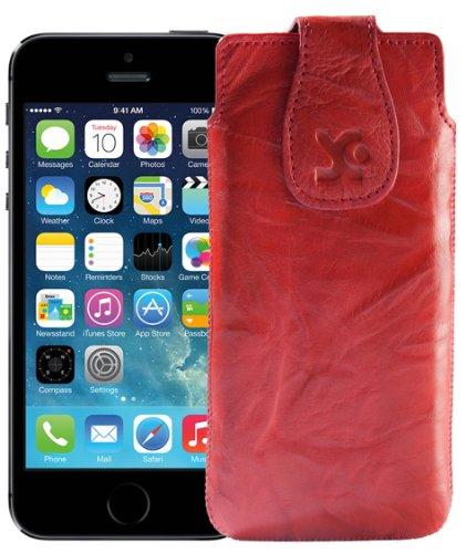 Suncase Étui en cuir pour Téléphone Portable–Apple iPhone se/iPhone 5S–Étui en cuir Étui de protection en cuir Coque de protection Wash-Rot