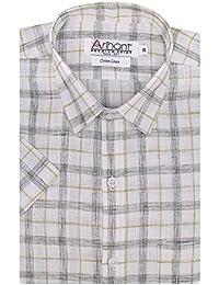 Arihant Men's Checkered Half Sleeves Reguler Fit Cotton Linen Formal Shirts