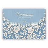 Hellblaue Vintage Einladungskarte mit Retro Kirschblüten Muster für Mädchen: Einladung zur Kommunion