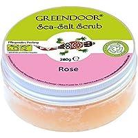 Greendoor esfoliante Sea Salt Scrub Rose, peeling di sale marino senza plastica e senza conservanti, 280 g con olio mandorle, scrub per il corpo