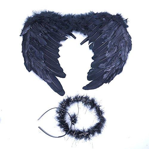 MAXGOODS 42x35cm Feder Dark Angel Schwarze Engel Fee Flügel und Haarband für Halloween - Dark Angel Halloween Kostüm