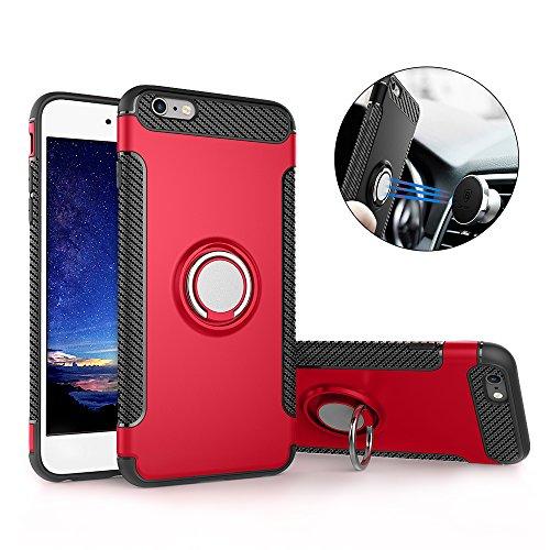 iPhone 6S Plus Hülle , iPhone 6 Plus Handyhülle mit Ring Kickstand - Mosoris Premium Silikon Shell mit 360 Grad Drehbarer Ständer und Handyhalterung Auto Magnet Ring , Dual Layer Stoßfest Rüstung Schutzhülle Bumper Tasche Case Cover für iPhone 6 Plus / 6S Plus , Rot