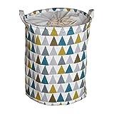 Inwagui Rund Wäschekorb Groß Wäschebox aus Baumwolle Stoff Wäschesack Bad Spielzeugkorb für Kinderzimmer - Buntes Dreieck