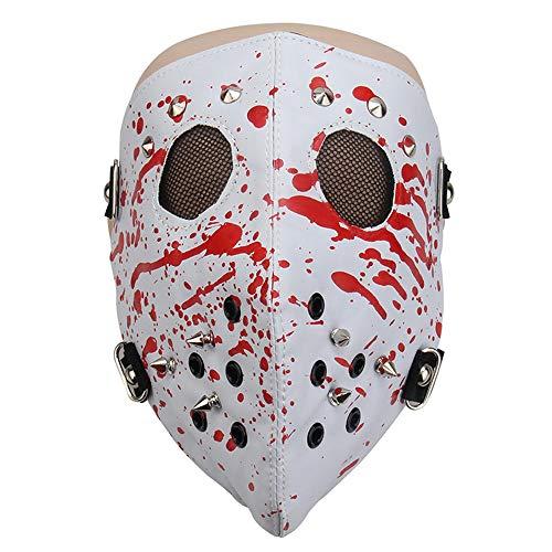 W.S.-YUE Metal Studded Steampunk Leder Maske Biker Männer Halbe Gesichtsmaske Airsoft Wind Cool Punk Nieten Schwarze Maskerade Ledermaske (Farbe : Weiß) - Maskerade-masken Für Männer Weiße