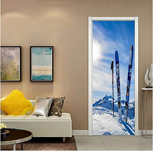 YANFLY Stickers de Porte Creative Snow Sled Étanche Salon Chambre Porte  Porte Amovible Papier Peint Autocollant Stickers Muraux 3D 77 * 200CM