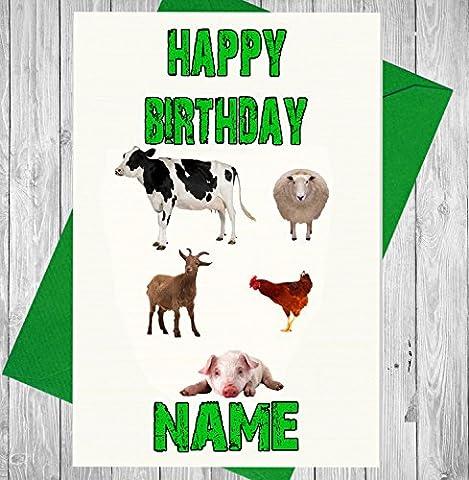 Farm Tiere Personalisierte Geburtstagskarte–Jeder Name und Alter Druck auf der Vorderseite