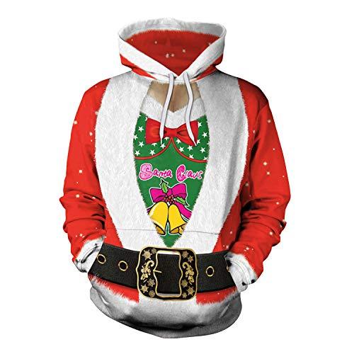 Kostüm Muster Claus Santa - Männer und Frauen Weihnachten Sweatshirt Weihnachten Europa und Amerika Cos Santa Claus Kostüm Festival Leistung Party Pullover, Foto Farbe, L