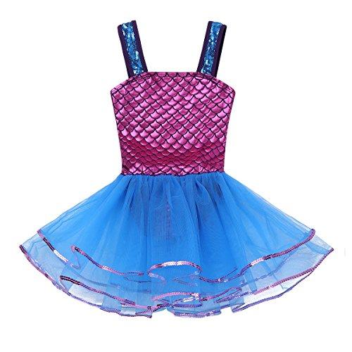 Tanz Kostüm Tutu - iixpin Ballett Kleider Mädchen Kinder Meerjungfrau Tütü Balletkleid Kindertanz Kostüme Fischschuppen Trikots Tanz Leotards Kleider, 3-10 Jahre Blau&Dunkel Rosa 116