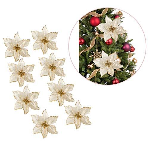 Polly Online Flores del árbol de Navidad Flor Artificial Brillo Flor de Adorno para Xmas Tree Decal 8PCS
