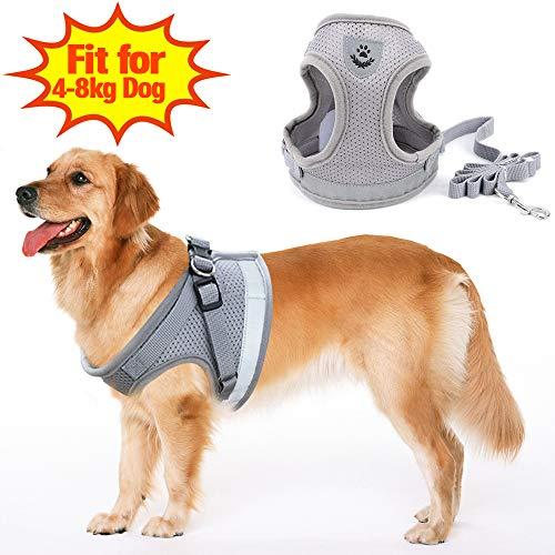 SunTop Atmungsaktives Hundegeschirr aus Weichem Air Mesh Gewebe, Reflektierend mit Hunde Leine Gurt Zugseil - Air-mesh-gewebe