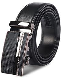 Mens Leather Belt - M.R Black Genuine Leather Belt with Stylish Ratchet Buckle