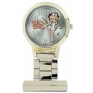 Montre Infirmière Betty Boop pour Femme au Cadran Gris avec Image et Bracelet en Métal