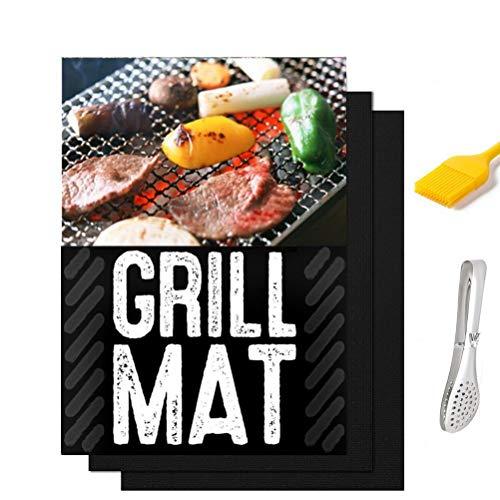 (5-in-One) BBQ Grill Mat, Antihaft-Matten BBQ, Grill As Seen on TV BBQ Backmatten für BBQ Net, Grillpfanne, hitzebeständig Bonus Lebensmittel Toog & BBQ Pinsel Stainless Food Toog -