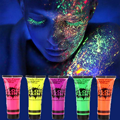 AOLVO Bodypaint Farbe, 5 X Neon Bodypainting Farben Gesichtsfarbe, Schwarzlicht Körpermalfarben für Bodypainting und Facepainting | Fluoreszierende UV Leuchtfarbe