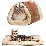 UMALL 2 in 1 Katzenhöhle und Betten für Katzen Katzenkorb zum Schlafen Kuschelige Haustierbett Gepolstert Katzenbett (Braun)