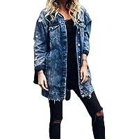 WangsCanis Giacca di Jeans da Donna con Fori e Tasche Giacca Casual Lunga con Bottoni Taglie Forti