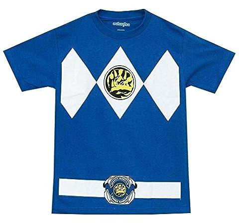 Male Power Costume Ranger - Power Rangers Blue Ranger Mens Costume T-Shirt