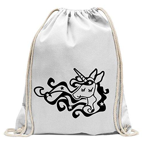 KIWISTAR - Einhorn Unicorn Regenbogen Turnbeutel Fun Rucksack Sport Beutel Gymsack Baumwolle mit Ziehgurt Weiß