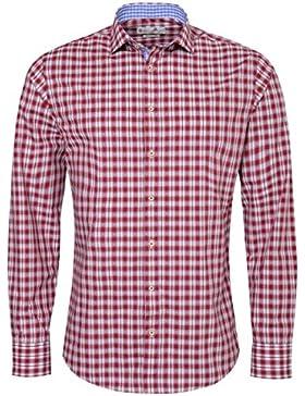 Gweih & Silk Trachtenhemd Body Fit Rudi Zweifarbig in Rot und Blau von