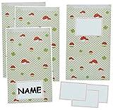 12 tlg. Set - 6 Geschenkbeutel / Geschenktasche + 6 Namensetiketten - Glückspilz + Marienkäfer - Geschenktüte Tüte Beutel Tasche Kinder - ideal für Mitgebsel oder auch als Adventskalender