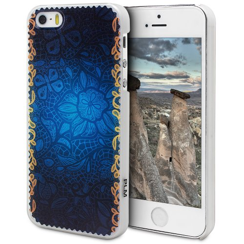 """PLM """"Avanos"""" Leopard Skin Brown Motiv - Apple iPhone 5S , iPhone 5 Hülle Schale Case Back Cover Opal-Weiss (Milchglas) Abstract Seamless"""