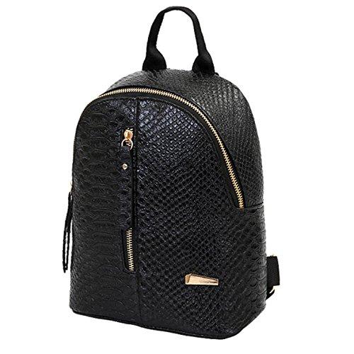 Elecenty Rucksack Backpack Damen,PU Ledertasche Bag Schulranzen Damenrucksack Rucksackhandtaschen Shopper Frauen Reißverschluss Handtasche Freizeitrucksack Reisetasche Damentasche (24cm, Schwarz)