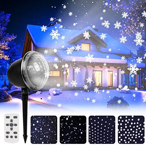Greatever LED Projektionslampe, Schneeflocke Projektionslampe Lampe Licht Romantische Dekoration mit Fernbedienung Wasserdicht Schneefall-Lichteffekt für Weihnachten Party Festival Innen Außen