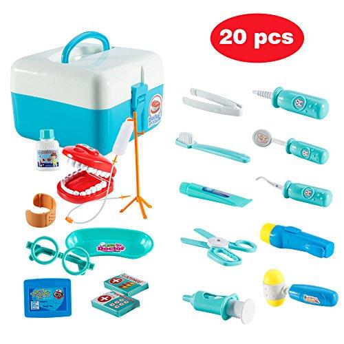 Twister.CK Childrens Doctors Kit, Kinder spielen Rollenspiel Arzt Medical Set Spielzeug mit 20 Stück Tragetasche für Kleinkinder Jungen, blau