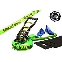 Slack-Liners 4 Teiliges Slackline-Set LEUCHTGRÜN - 50mm breit, 25m lang - mit Langhebelratsche Made in Germany