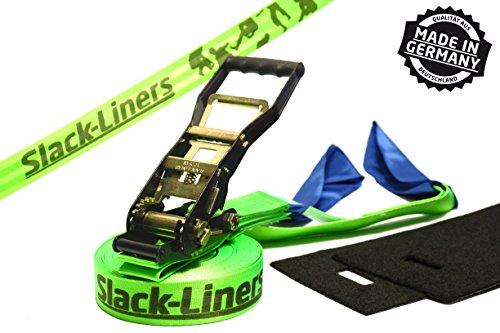 4 Teiliges Slackline-Set LEUCHTGRÜN - 50mm breit, 25m lang - mit Langhebelratsche - Slack-Liners - Made in Germany
