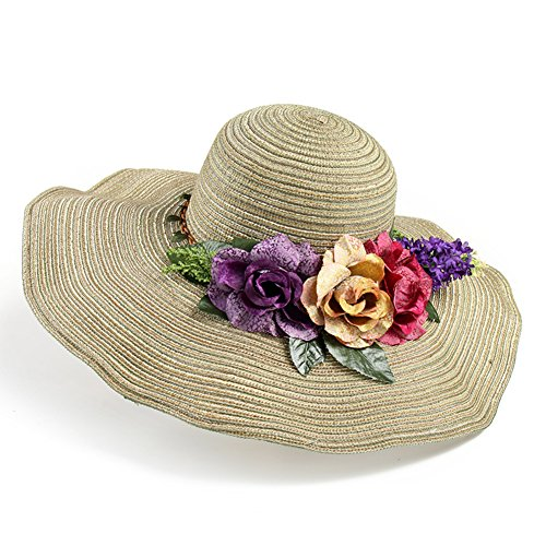 fille de grand chapeau/ l'été fleurs grand chapeau de paille/Visière de plage/Style pastoral coréen Sun Liang Mao C