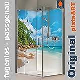 ORIGINAL plateART Eck-Duschrückwand, bis 90 x 200 cm links/rechts und 120 x 200 cm links/rechts OHNE FUGEN, Fliesenersatz, Karibik Strand Bucht Motiv