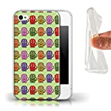 Stuff4 Coque Gel TPU de Coque pour Apple iPhone 4/4S / Tricératops Bébé Coloré Design/Dinosaures Dessin Animé Collection
