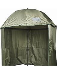 Fladen 2.2m INCLINABLE rond vert foncé Brolly Parapluie de pêche avec fermeture éclair étanche sur feuille de Bivouac et étui de transport [25–0116–22]