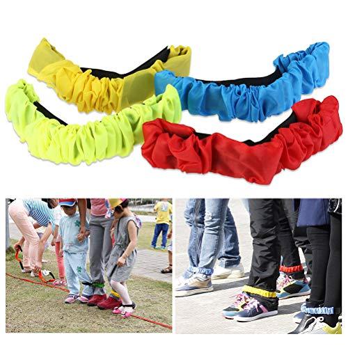 7thLake 4 Stücke Zwei Menschen Dreibeinigen Elastische Sport Krawattenseile Run Race Spiel Kinder Zusammenarbeit Outdoor-Spielzeug (Amazing Race Spiel)