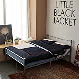 Minifair Double Bed Frame Black Metal Size 4ft6 Bed frame Stylish Sturdy Bed(bed frame only) (Silver)
