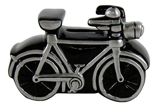 Mini-Spardose Fahrrad schwarz 10cm aus Keramik