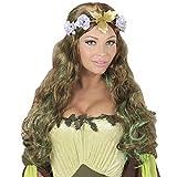 NET TOYS Fantasy-Perücke Wald-Elfe mit Blumen-Krone | Brünett-Grün | Außergewöhnliches Frauen-Kostüm-Zubehör Cosplay Langhaar-Perücke mit Blüten-Kranz | Geeignet für Fastnacht & Karneval
