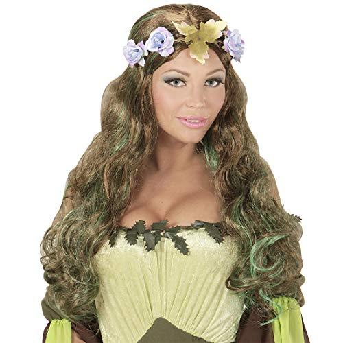 Fee Kostüm Frauen Blumen - NET TOYS Fantasy-Perücke Wald-Elfe mit Blumen-Krone | Brünett-Grün | Außergewöhnliches Frauen-Kostüm-Zubehör Cosplay Langhaar-Perücke mit Blüten-Kranz | Geeignet für Fastnacht & Karneval