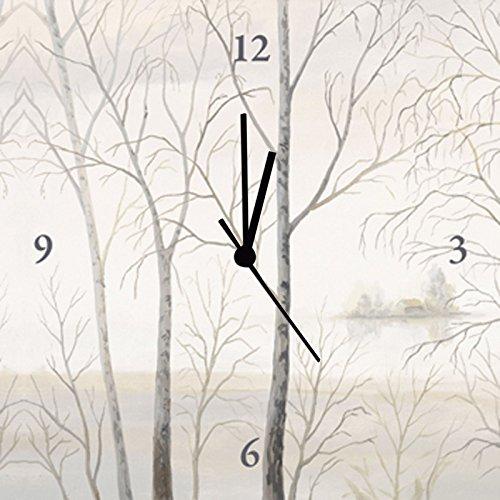 Artland Orologio da parete stampa digitale su tela su cornice in legno steso basso rumore meccanismo di qualità Andres See Riva am WALD I paesaggi acque Lago Pittura Crema 30x 30x 2,8cm