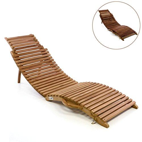 Divero Luxus Relaxliege Sonnenliege Strandliege Gartenliege aus Teak-Holz/Akazie mehrfach...