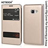 NETBOON® Branded Samsung Galaxy J7 Prime Smart Window Sensor Leather Flip Cover Case with Call Answering/Refusing – (Gold)
