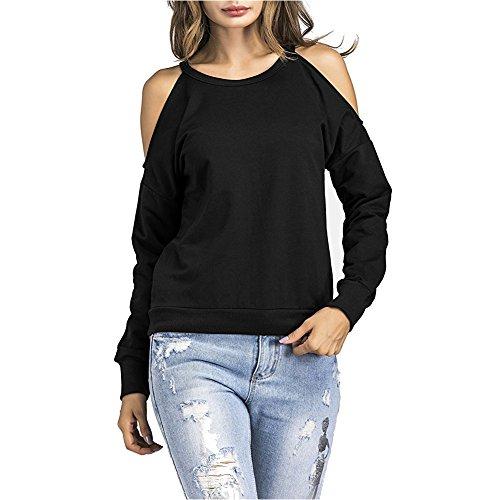 nge Ärmel T-Shirt Damen O-Ausschnitt Solide Langarmshirt Frühling Sommer Herbst Tops (XL, Schwarz) (Damen Schwarz Jeans Abgeschnitten)