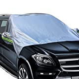 Car Sun Shade - Magnetic Windshield Sunshade Elastic with hooks Fixed Four wheels & Reflective Warning Bar on Mirror Covers - Ice Sun Frost and Wind Proof in All Weather, Fit for Most Vehicle