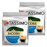 Tassimo Jacobs Caffè Crema Mild, Kaffee, Kaffeekapsel, gemahlener Röstkaffee, 2er Pack, 2 x 16 T-Discs