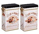 Aricola Teedosen Set/Kaffeedosen Set/Gewürzdosen Set, 2 Stück Classic Coffee eckig, mit Bügelverschluss 77 x 122 x 197mm