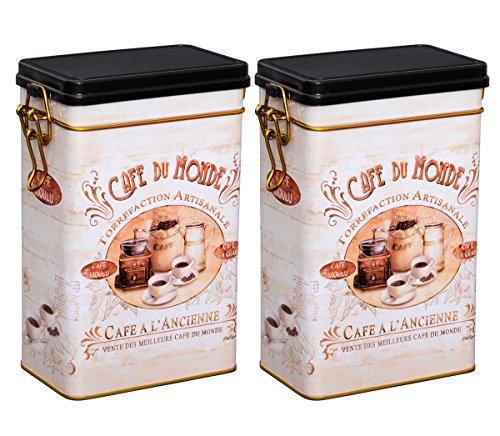 Aricola Teedosen Set/Kaffeedosen Set/Gewürzdosen Set, 2 Stück Classic Coffee eckig, mit...