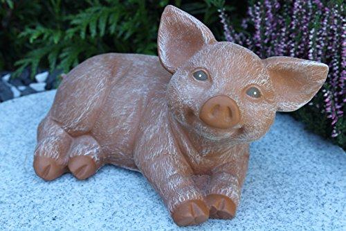 Steinfigur Schwein, 175 Ferkel, Gartenfigur Steinguss Tierfigur Terrakotta Patina