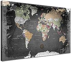 LanaKK - Weltkarte Graphit mit Kork Rückwand - edel Leinwand Bild Kunstdruck auf Keilrahmen, Pinnwand für Weltenbummler 120 x 80 cm, einteilig